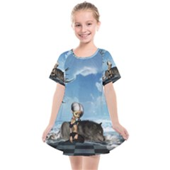 Cute Little Fairy With Wolf On The Beach Kids  Smock Dress by FantasyWorld7
