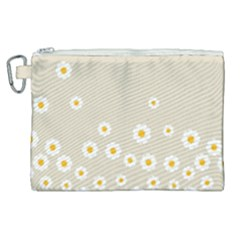 White Daisies Flower Pattern On Vintage Pastel Beige Background Retro Style Canvas Cosmetic Bag (xl) by genx