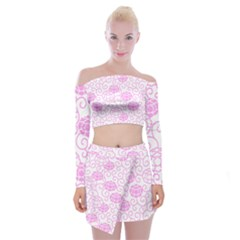 Peony Asia Spring Flowers Natural Off Shoulder Top With Mini Skirt Set