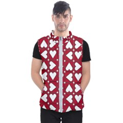 Graphic Heart Pattern Red White Men s Puffer Vest