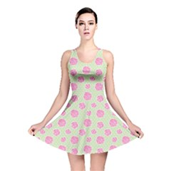 Roses Flowers Pink And Pastel Lime Green Pattern With Retro Dots Reversible Skater Dress by genx