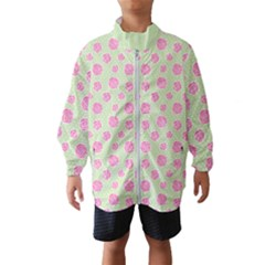 Roses Flowers Pink And Pastel Lime Green Pattern With Retro Dots Kids  Windbreaker by genx