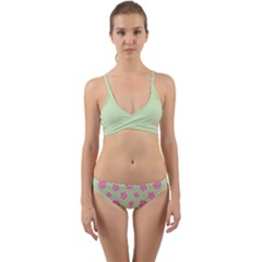 Roses Flowers Pink And Pastel Lime Green Pattern With Retro Dots Wrap Around Bikini Set by genx