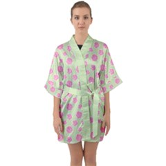 Roses Flowers Pink And Pastel Lime Green Pattern With Retro Dots Quarter Sleeve Kimono Robe by genx