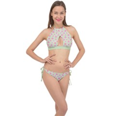 Roses Flowers Pink And Pastel Lime Green Pattern With Retro Dots Cross Front Halter Bikini Set by genx
