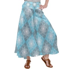 White Light Blue Gray Tile Satin Palazzo Pants by Pakrebo