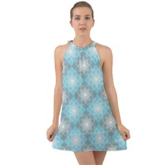 White Light Blue Gray Tile Halter Tie Back Chiffon Dress