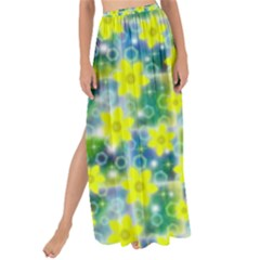 Narcissus Yellow Flowers Winter Maxi Chiffon Tie Up Sarong by Pakrebo