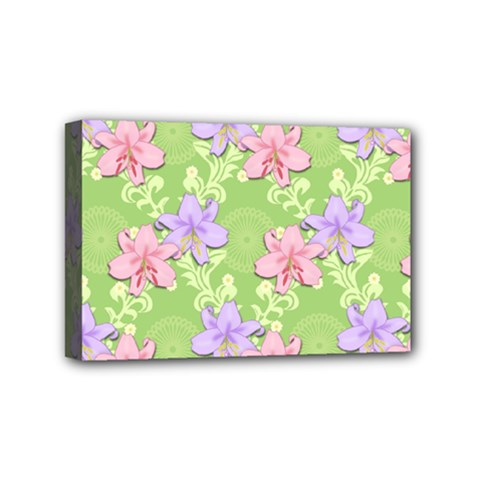 Lily Flowers Green Plant Natural Mini Canvas 6  X 4  (stretched)