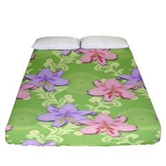 Lily Flowers Green Plant Natural Fitted Sheet (king Size)