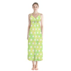 Traditional Patterns Hemp Pattern Button Up Chiffon Maxi Dress by Pakrebo