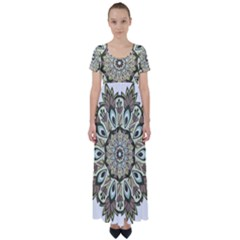 Mandala Pattern Round Floral High Waist Short Sleeve Maxi Dress by Pakrebo