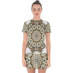 Mandala Pattern Round Floral Drop Hem Mini Chiffon Dress