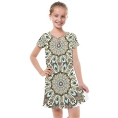 Mandala Pattern Round Floral Kids  Cross Web Dress