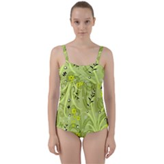 Seamless Pattern Green Garden Twist Front Tankini Set