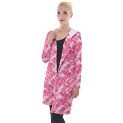 Phlox Spring April May Pink Hooded Pocket Cardigan by Pakrebo