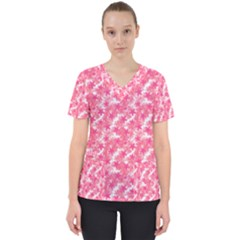 Phlox Spring April May Pink Women s V Neck Scrub Top