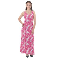Phlox Spring April May Pink Sleeveless Velour Maxi Dress