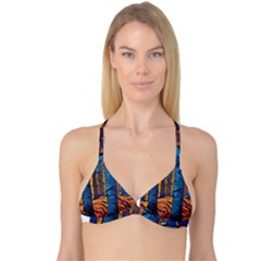 Woods Trees Abstract Scene Forest Reversible Tri Bikini Top