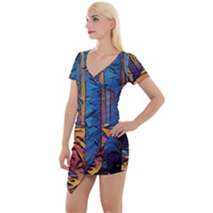 Woods Trees Abstract Scene Forest Short Sleeve Asymmetric Mini Dress