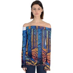 Woods Trees Abstract Scene Forest Off Shoulder Long Sleeve Top by Pakrebo