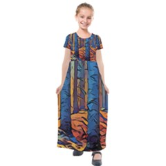 Woods Trees Abstract Scene Forest Kids  Short Sleeve Maxi Dress by Pakrebo