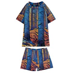 Woods Trees Abstract Scene Forest Kids  Swim Tee And Shorts Set
