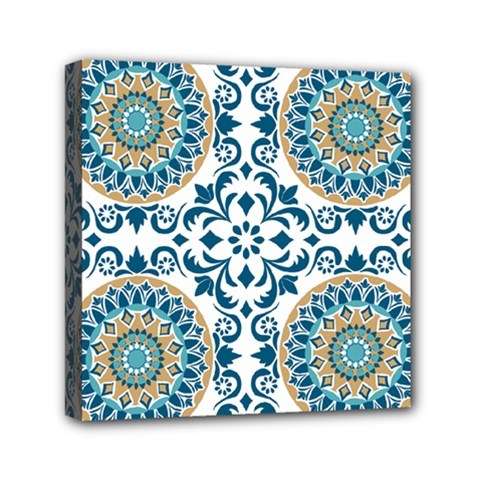 Tile Vintage Pattern Design Mini Canvas 6  X 6  (stretched) by Pakrebo