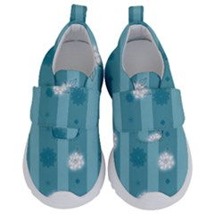 Gardenia Flowers White Blue Kids  Velcro No Lace Shoes by Pakrebo