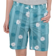 Gardenia Flowers White Blue Pocket Shorts