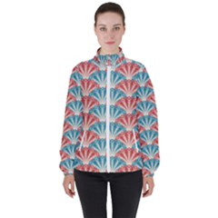 Seamless Patter Peacock Feathers Women s High Neck Windbreaker