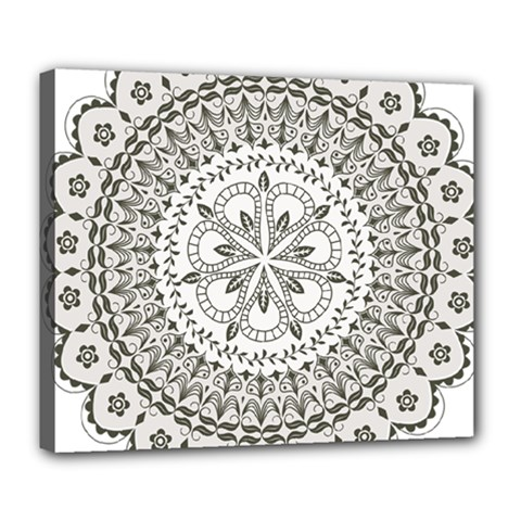 Vector Mandala Drawing Decoration Deluxe Canvas 24  X 20  (stretched) by Pakrebo