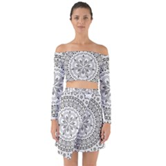 Vector Mandala Drawing Decoration Off Shoulder Top With Skirt Set