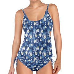 White Flowers Summer Plant Tankini Set