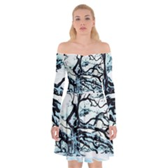 Tree Winter Blue Snow Cold Scene Off Shoulder Skater Dress