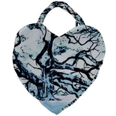 Tree Winter Blue Snow Cold Scene Giant Heart Shaped Tote
