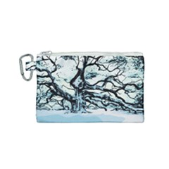 Tree Winter Blue Snow Cold Scene Canvas Cosmetic Bag (small)