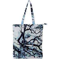 Tree Winter Blue Snow Cold Scene Double Zip Up Tote Bag