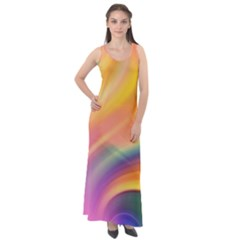Wave Watercolor Watercolour Sleeveless Velour Maxi Dress