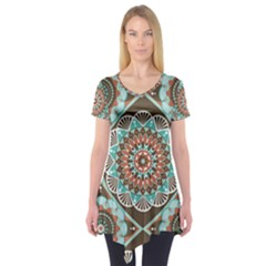 Seamless Pattern Colorful Wallpaper Short Sleeve Tunic