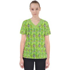 Maple Leaf Plant Seamless Pattern Women s V Neck Scrub Top by Pakrebo