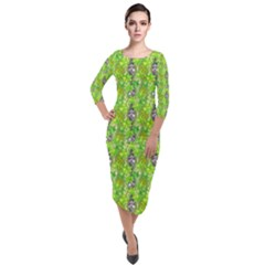 Maple Leaf Plant Seamless Pattern Quarter Sleeve Midi Velour Bodycon Dress
