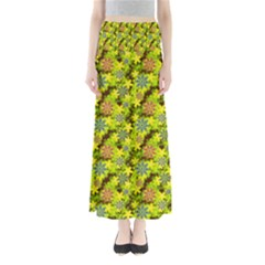 Flowers Yellow Red Blue Seamless Full Length Maxi Skirt
