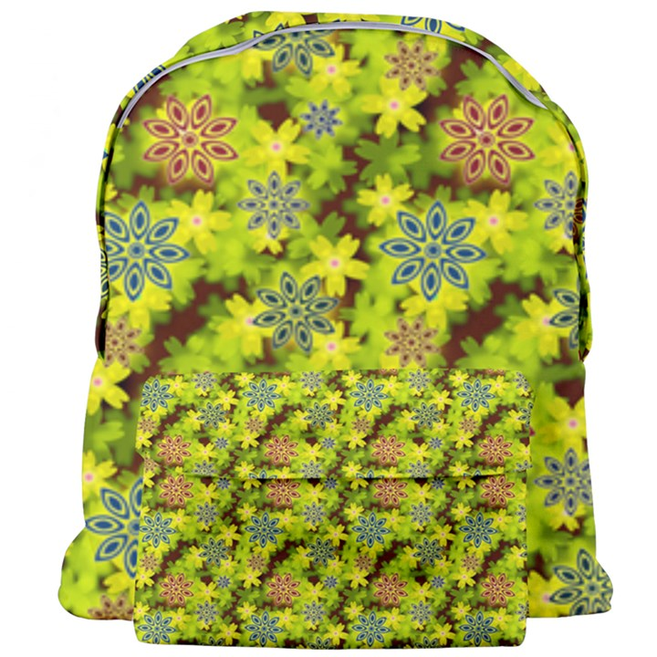 Flowers Yellow Red Blue Seamless Giant Full Print Backpack