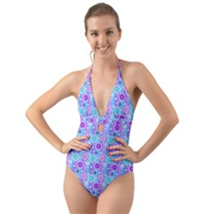 Flowers Light Blue Purple Magenta Halter Cut Out One Piece Swimsuit