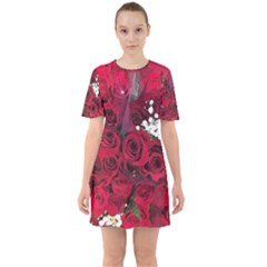 Roses Baby S Breath Bouquet Floral Sixties Short Sleeve Mini Dress