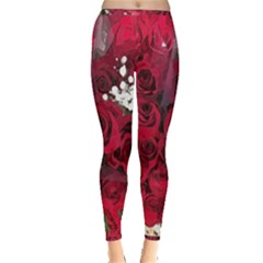 Roses Baby S Breath Bouquet Floral Inside Out Leggings