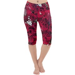 Roses Baby S Breath Bouquet Floral Lightweight Velour Cropped Yoga Leggings by Pakrebo