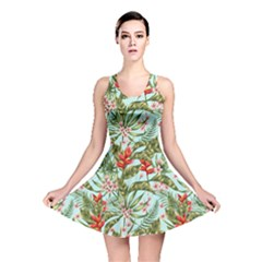 Green Leaves And Red Flowers Reversible Skater Dress by goljakoff