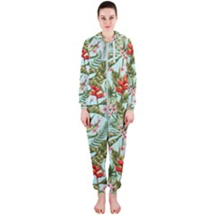 Green Leaves And Red Flowers Hooded Jumpsuit (ladies)  by goljakoff